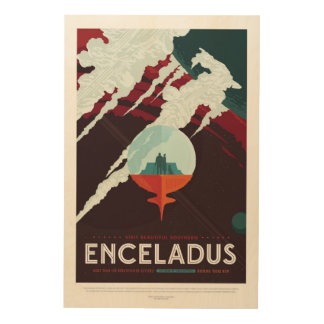 Enceladus Moon of Saturn advert for space tourism Wood Wall Art