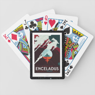 Enceladus Moon of Saturn retro space tourism ad Bicycle Playing Cards