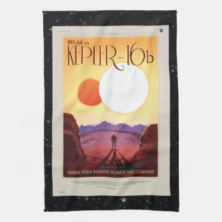 Enceladus Moon of Saturn retro space tourism ad Tea Towel