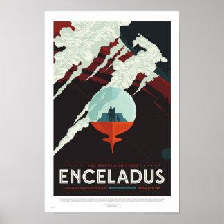 Enceladus - Retro NASA Travel Poster