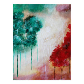 Enchanted Abstract Art Landscape Skinny Trees Postcard