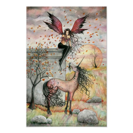 Enchanted Autumn Fairy Unicorn Art Poster