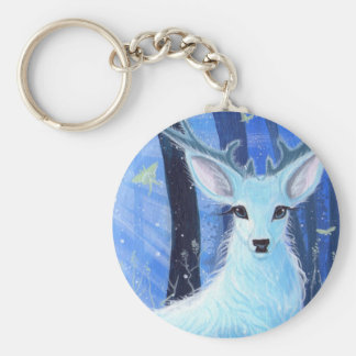 """""""Enchanted by Moonlight"""" White Stag Keyring"""