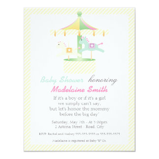 Enchanted Carousel Neutral Baby Shower Invitation