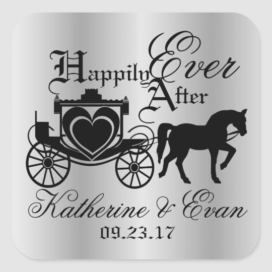 Enchanted Carriage Fairytale Silver Square Sticker