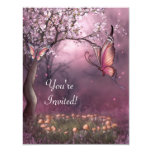 Enchanted Cherry Blossom Garden Butterfly Event 11 Cm X 14 Cm Invitation Card