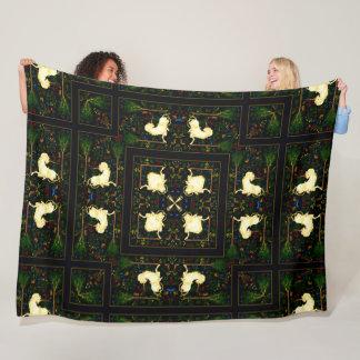 Enchanted Dark Unicorn Garden Quilt Fleece Blanket