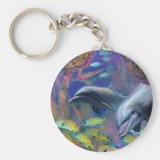 Enchanted Dolphins Basic Round Button Key Ring