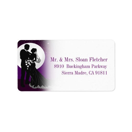 Enchanted Evening Nighttime Wedding Label | Purple Address Label