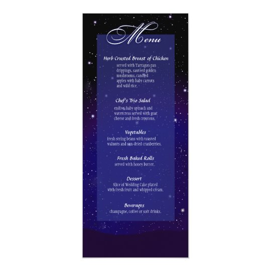 Enchanted Evening Nighttime Wedding Menu Card