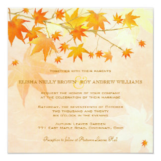 Enchanted Fall Leaves Rural Wedding Card