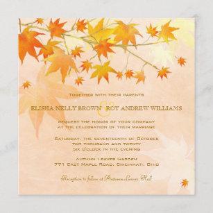 Enchanted Fall Leaves Rural Wedding Invitation