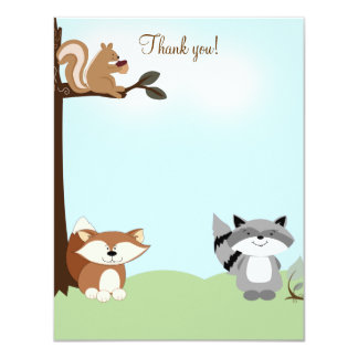 Enchanted Forest 4x5 Flat Thank you note 11 Cm X 14 Cm Invitation Card