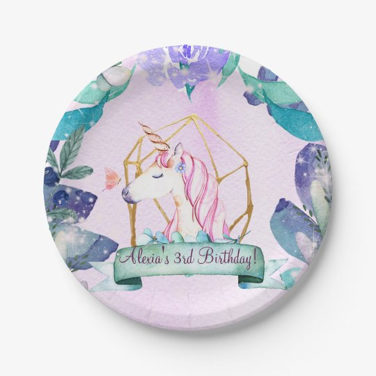 Enchanted Forest Fantasy Magical Unicorn Party Paper Plate