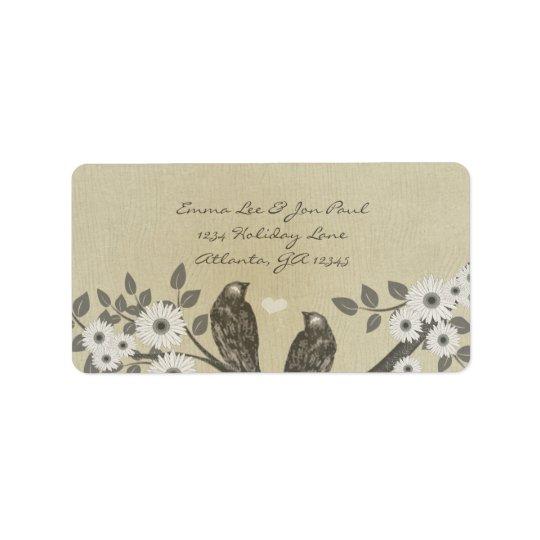 Enchanted Forest Love Bird Wedding Address Label
