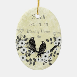Enchanted Forest Love Bird Wedding Ceramic Oval Decoration