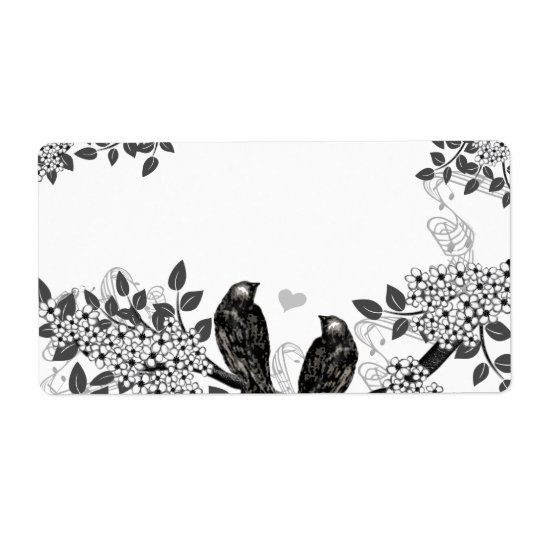 Enchanted Forest Love Bird Wedding Shipping Label