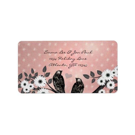 Enchanted Forest Pink Love Bird Address Address Label