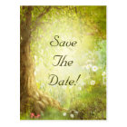 Enchanted Forest Scene Save The Date Wedding Postcard