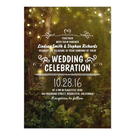 enchanted forest string lights wedding invitations
