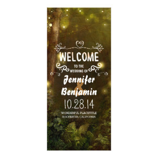 enchanted forest string lights wedding programs rack card design