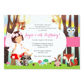 Enchanted Forest Woodland Fairy Party Invitation