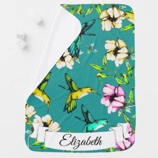 Enchanted Garden Watercolor Hummingbirds & Flowers Baby Blanket