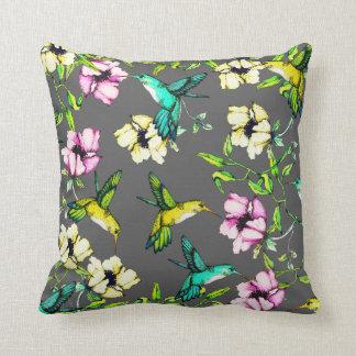 Enchanted Garden Watercolor Hummingbirds & Flowers Cushion
