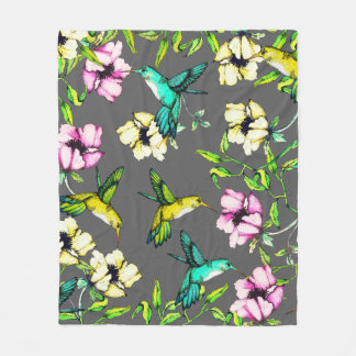 Enchanted Garden Watercolor Hummingbirds & Flowers Fleece Blanket