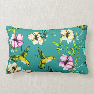 Enchanted Garden Watercolor Hummingbirds & Flowers Lumbar Cushion
