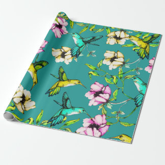 Enchanted Garden Watercolor Hummingbirds & Flowers Wrapping Paper