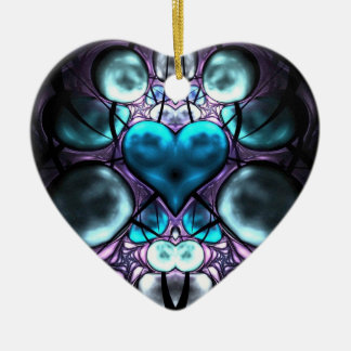 Enchanted Heart Fractal Tree Ornaments