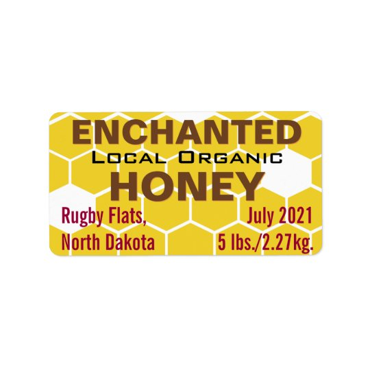 Enchanted Local Organic Honey Jar Label