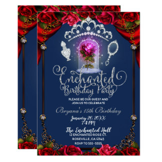Enchanted Magical Rose Beauty & The Beast Party Card
