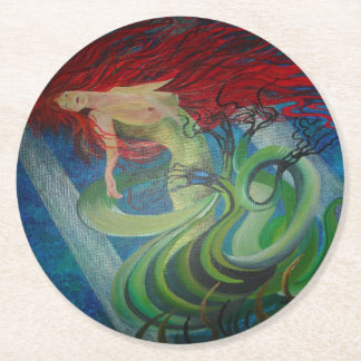 Enchanted Mermaid Round Paper Coaster