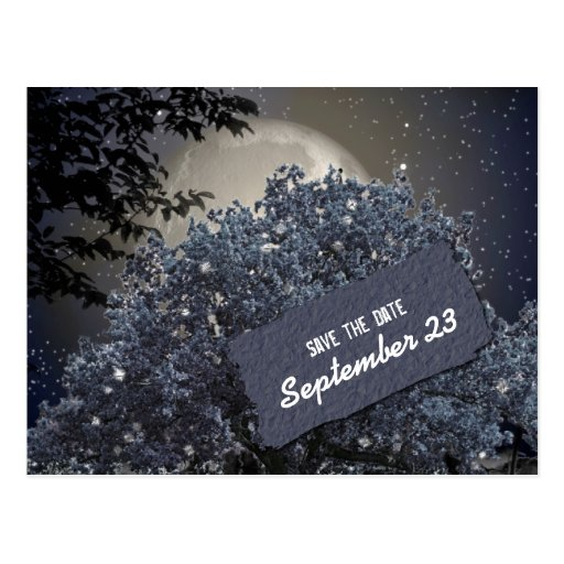 Enchanted Night Blue Tree Save the Date Post Cards