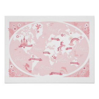 Enchanted Pink World Map - Children's Art Poster