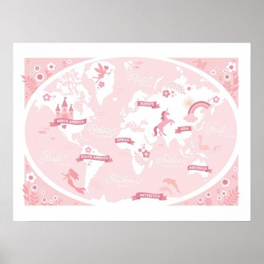 Enchanted Pink World Map - Children's Art Poster