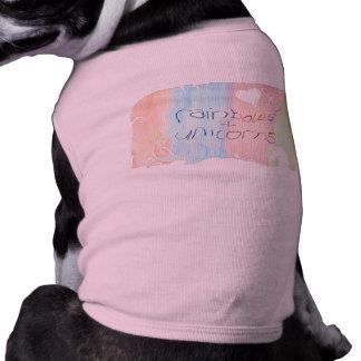 Enchanted rainbow and unicorn fairytale sleeveless dog shirt