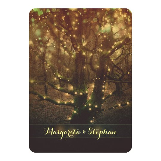 Enchanted romantic forest lights rustic wedding card