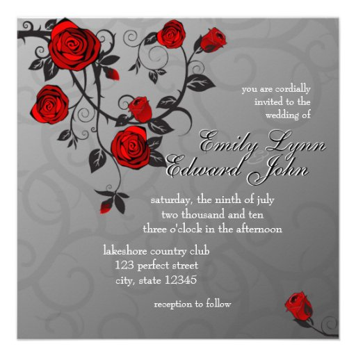 Enchanted Roses Wedding Invitation Personalized Announcements