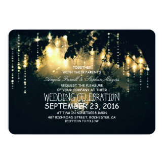 Enchanted string lights trees wedding invitations