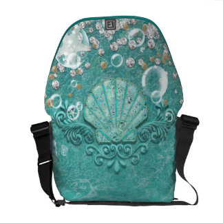 Enchanted Teal Sea Shell & Ocean Bubbles Commuter Bag