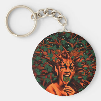 Enchanted Tree Sprite w/Leaves Basic Round Button Key Ring