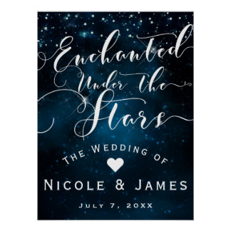 ENCHANTED UNDER THE STARS Starry Blue Skies Banner Poster
