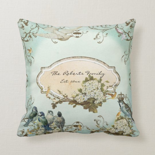 Enchanted Woodland Birds Dove Swirl Personalised Cushion