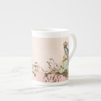 Enchanted Woodland Birds Dove Swirl Personalized Bone China Mug