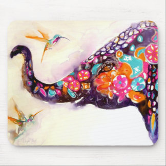 """Enchanting Friends"" Hummingbird & Elephant Mouse Pad"