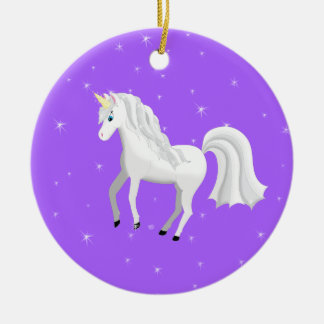 Enchanting Unicorn on Purple Background and Stars Christmas Ornament