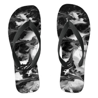 ENCHANTMENT  (black & white abstract art) ~ Flip Flops